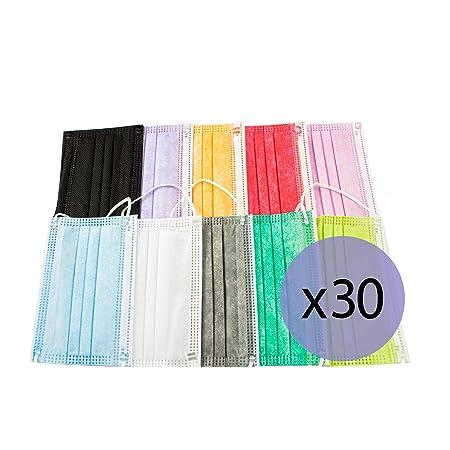 PAIDE P Mascarillas Higiénicas Mix Colores Infantiles, 3 Capas Desechables, 30 unidades (Colores-01)