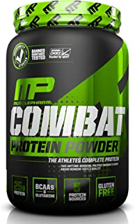 MusclePharm Combat Protein Powder, 5 Protein Blend, Vanilla, 2 Pounds, 27 Servings