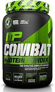 MusclePharm Combat Protein Powder, Essential Whey Protein Powder, Isolate Whey Protein, Casein and Egg Protein with BCAAs and Glutamine for Recovery, Vanilla, 2-Pound, 26 Servings