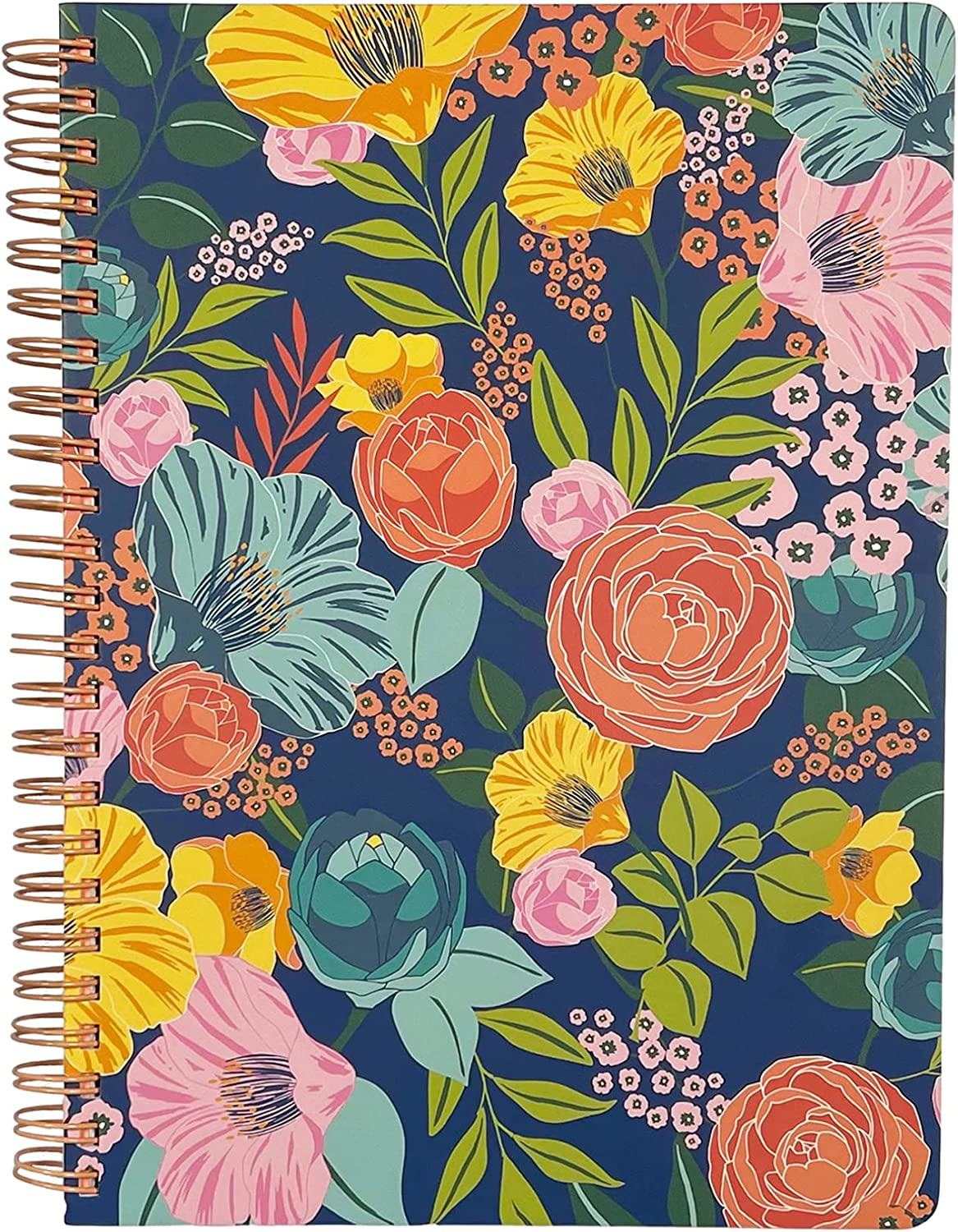 """Steel Mill & Co Cute Floral Mini Spiral Notebook, 8.25"""" x 6.25"""" Journal with Durable Hardcover and 160 Lined Pages, Garden Blooms (Navy) : Office Products"""
