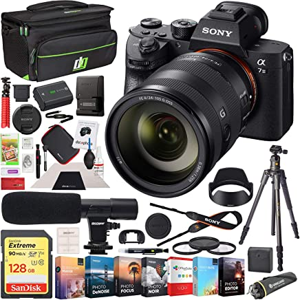$3197 Get Sony a7 III Full Frame Mirrorless Interchangeable Lens 4K HDR Camera ILCE-7M3 Body with SEL24105G FE 24105mm F4 G OSS Zoom Lens and Deco Gear Backpack Kit Microphone Editing Bundle