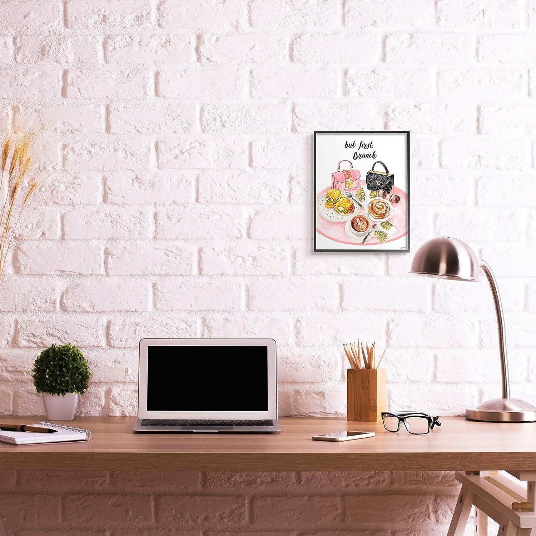 11 x 14 Stupell Industries But First Brunch Phrase Glam Breakfast Table Design by Ziwei Li Black Framed Wall Art White