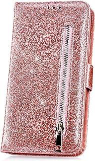 JAWSEU Compatible avec Samsung Galaxy J5 2017 J530 Coque PU Cuir Bling Diamant,Ultra Mince Leather Flip Wallet Portefeuille Etui Gaufrer Papillon Fleur Brillant Glitter Strass,Violet Clair