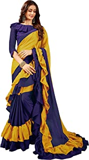 Manohari Plain Blue & Yellow Georgette Ruffle Saree with Blouse Piece