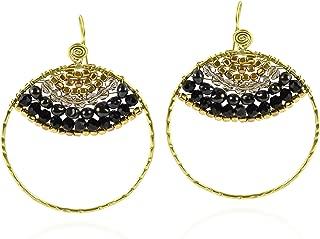 Egyptian Princess Cultured Freshwater Black Pearls Brass Hoop Earrings