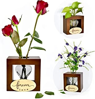 "I'm Wood Vase Heart Glass Plant Flowers Hydroponic Terrarium Wall Hanging & Desktop, Gift for Valentine's Girlfriend Anniversary Mother Birthday Thanksgiving Christmas Wedding Décor ""Forever Love"""
