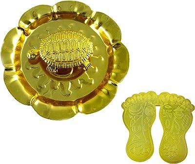 eshoppee vastu fengshui Metal Tortoise in Plate with MATA laxmi charan paduka