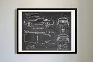 DolanPaperCo #306 Ford Mustang Fastback 1965 Art Print Art Print, da Vinci Sketch - Unframed - Multiple Size/Color Options (17x22, Blackboard)