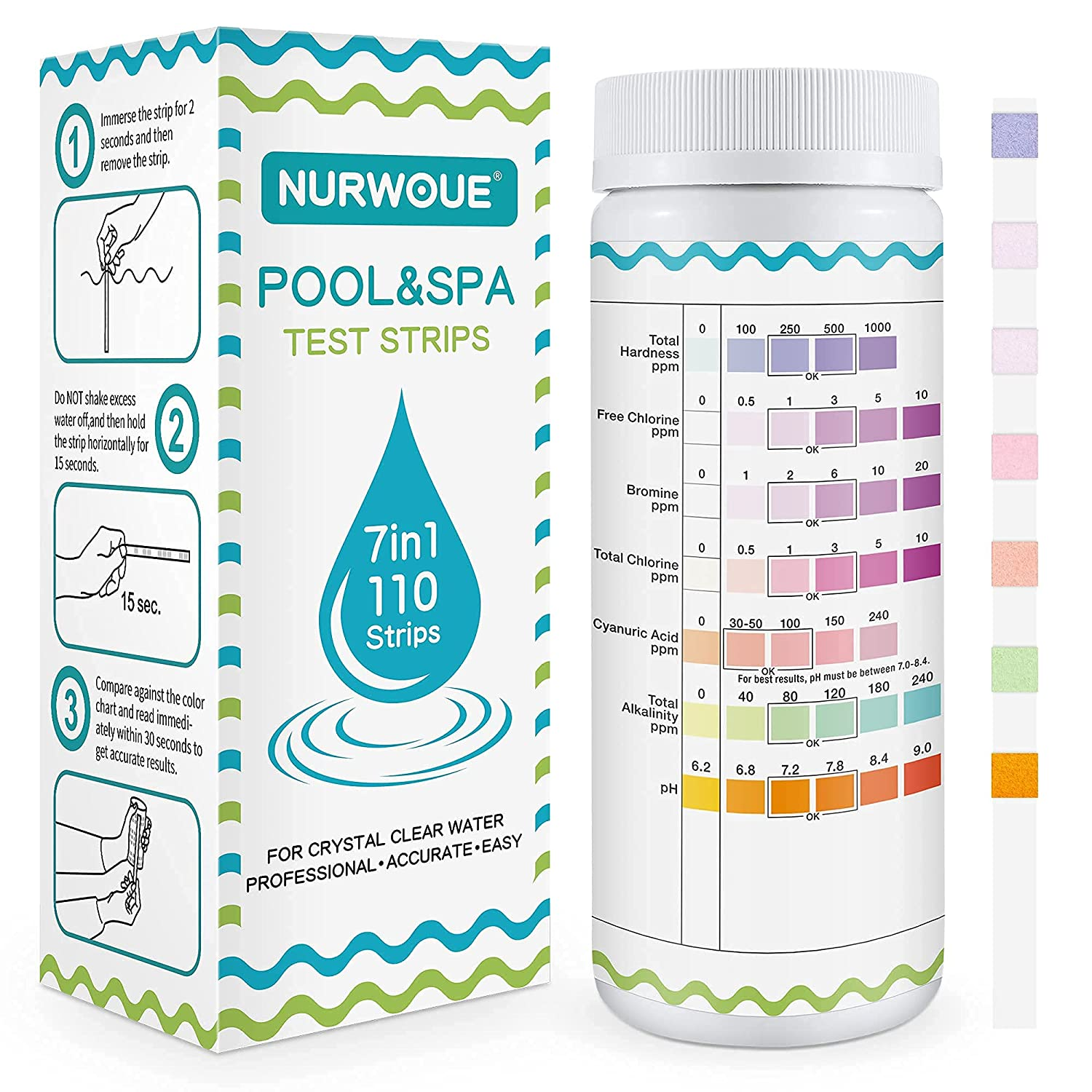 NURWOUE Pool Water Testing Strips for 110 Test Kit Max 45% Max 87% OFF OFF