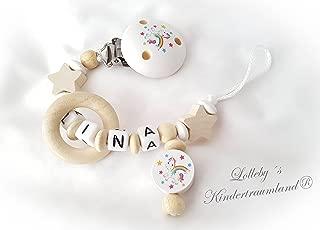 Baby Schnullerkette mit Namen M/ädchen *Einhorn//Kr/önchen*