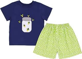 babeeni 可爱小男孩服装与蜜糖罐贴花 ON 上衣短袖男孩短袖套装