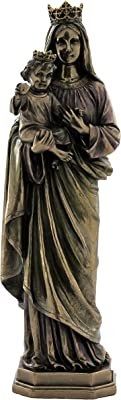 10.38 Inch Mother Mary Holding Baby Jesus Cold Cast Bronze Figurine