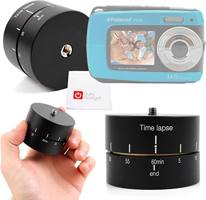 DURAGADGET Base para Trípode para Cámara Cámara compacta Polaroid IF045 | Sony DSC-W810 | Fujifilm XP90 | Canon PowerShot SX620 HS - Rotador Panorámico 360° + Gamuza - 60 Min