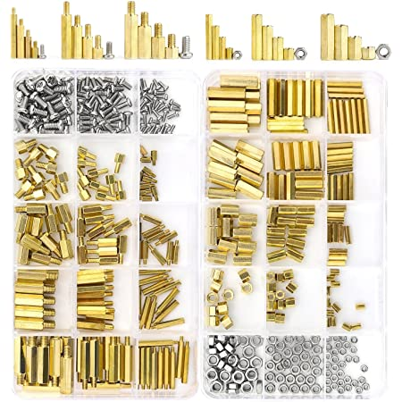 JZK 180 x M2.5 Hex Brass Spacer Standoff Stainless Steel Male-Female Screw nut Assortment kit for DIY Electronic Project