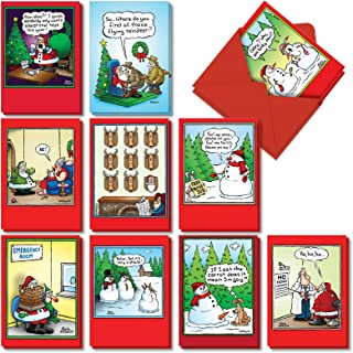 Holly Jolly Rice Cakes - 20 Cartoon Christmas Cards with Envelopes (4.63 x 6.75 Inch) - Funny Santa Claus, Snowman Comics - Boxed Notecard Set for Xmas, Holidays (10 Designs, 2 Each) AC5557XSG-B2x10