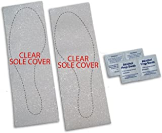 Slip Resistant Rubberized Shoe Sole Cover Pads for Flats, Wedges, or Platforms (Clear)