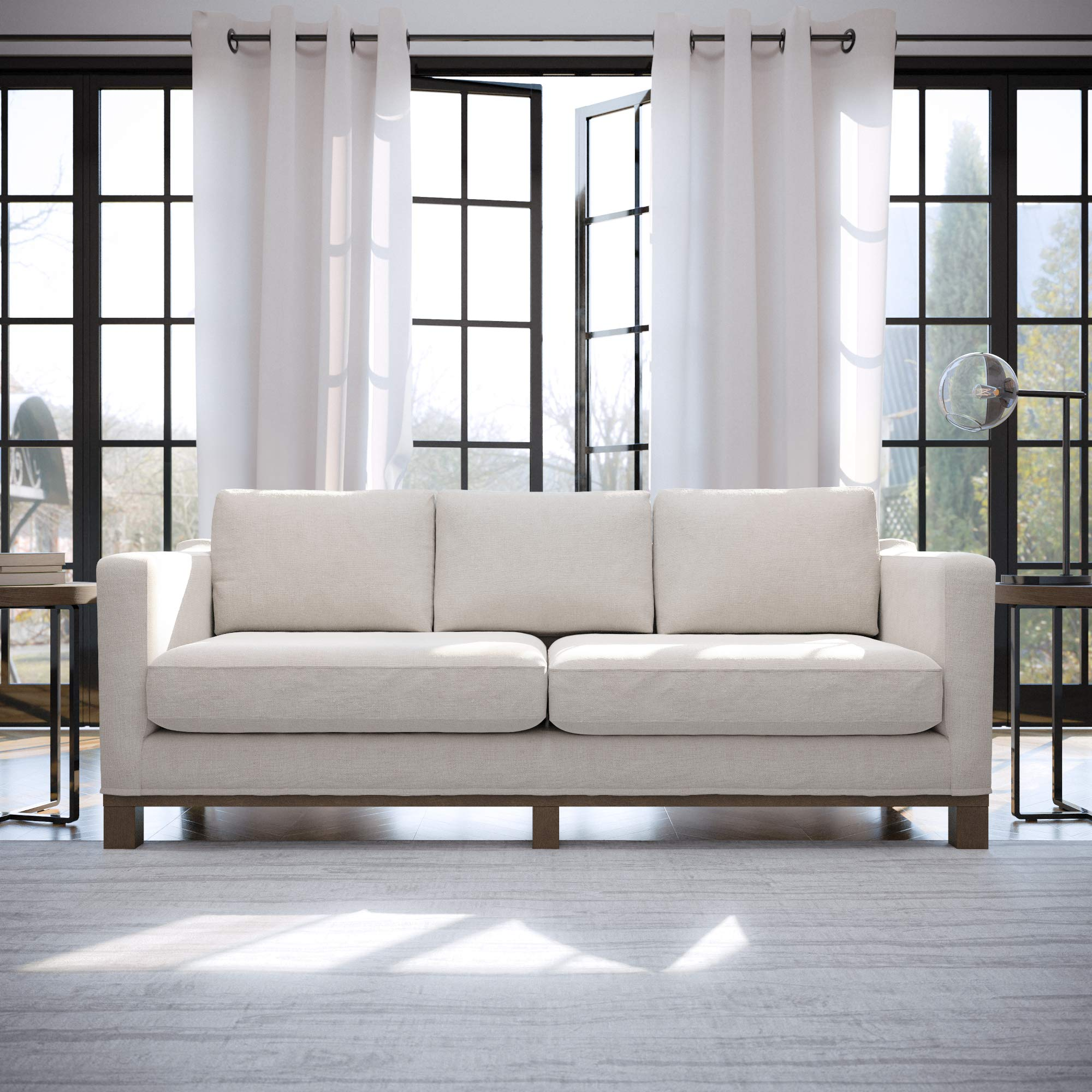 Edenbrook Parkview Upholstered Wood Base-Two-Cushion Design-Contemporary Feel, Sofa, Weathered Oat