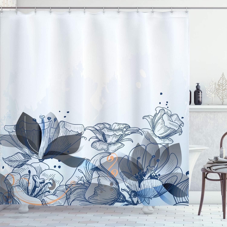 Ambesonne Flower Shower Curtain 春の新作シューズ満載 Background Hibiscu Retro SALENEW大人気! Floral