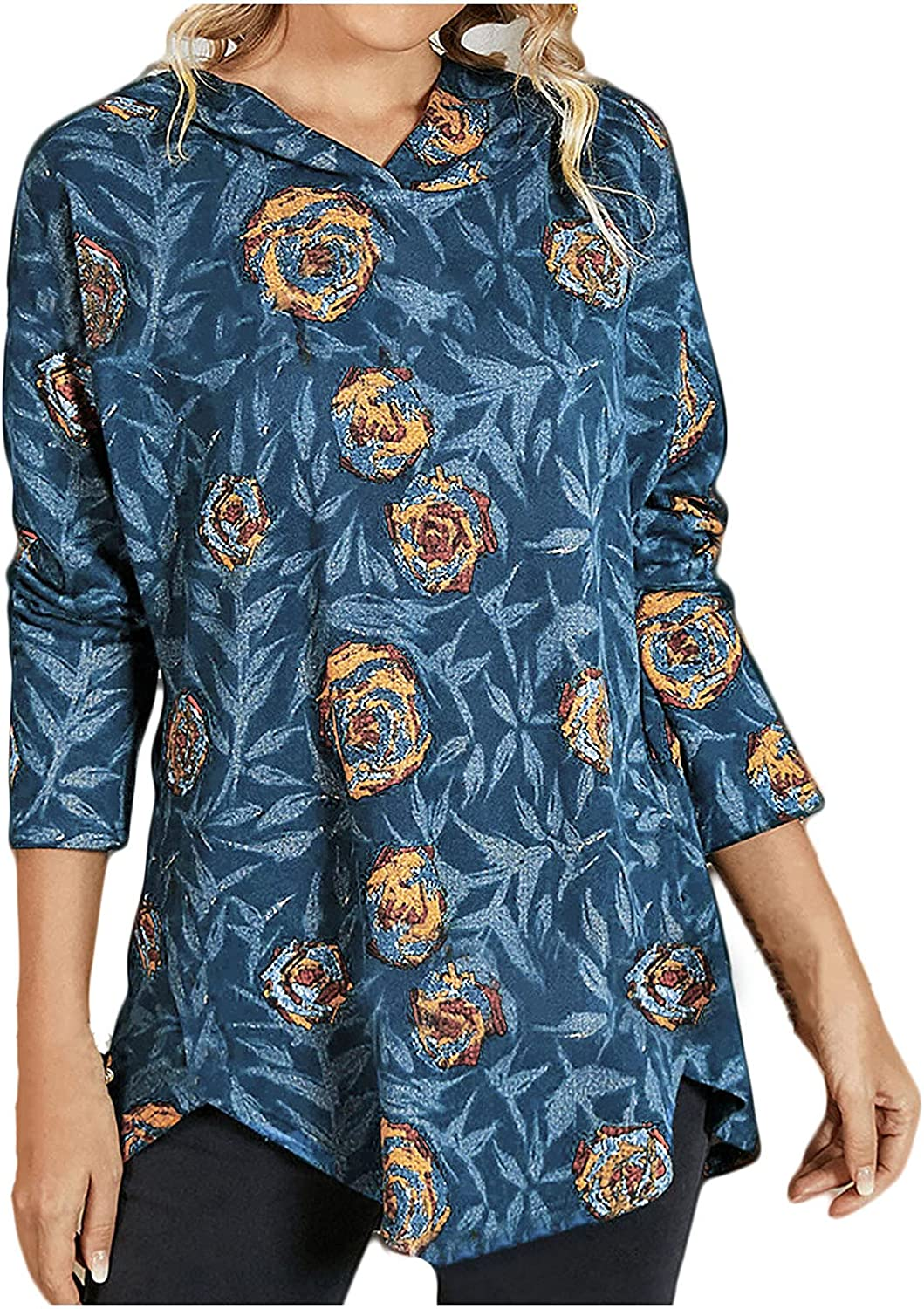 Women's Hooded Vintage Print Long Sleeve Casual Loose Tunic Tops Comfy Soft Blouses Autumn Fashion Shirts