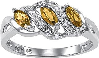 Heart Charm Custom Simulated Birthstone Women's Ring,...