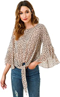 Womens Casual Loose Chiffon Blouses Scoop Neck Short Sleeve Tops Shirts with Belt