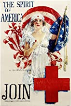 1918 The Spirit of America - Red Cross Nurse U.S. Vintage Navy Corps American WWI Memorial Day Veteran's Day Armed Services Patriotic Travel Art Souvenir Poster Print. Measures 10 x 13.5 inches