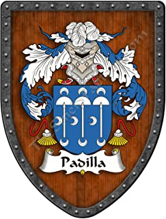 Padilla Family Crest Custom Coat of Arms, Family Ancestry and Heritage Hanging Metal Wall Plaque Shield - Hand Made in the USA