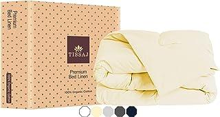 Tissaj Bettbezug - 100% Bio-Baumwolle - Zertifiziert - 300 Tc Fadenzahl Weicher Satin - Für Bettbezug, Daunen/Alternative Bettdecke, Gewichtete Decke |Natürlich|Doppelt