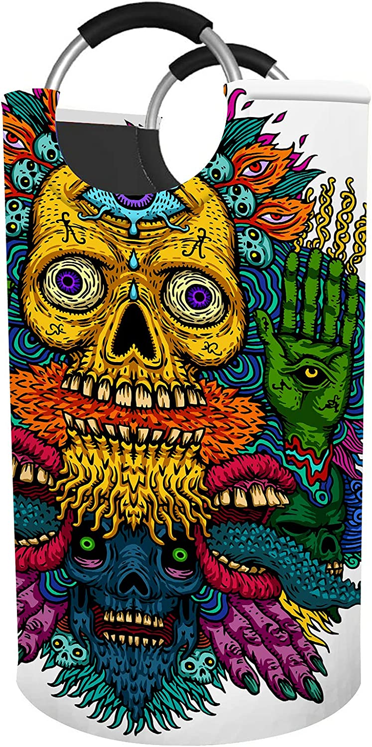 EKOBLA Max 49% OFF Psychedelic Skull Laundry Basket Hampers Dirty Round free Clot