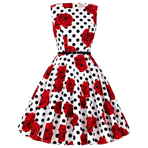 493fd249c323 1950s Vintage A-Line Cotton Hepburn Swing Fancy Party Dress with Belt  XS~Plus