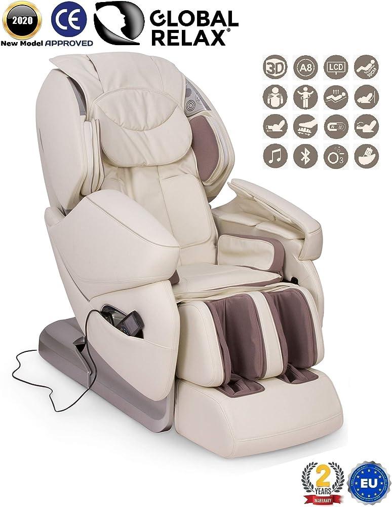 Global relax ,nirvana®, poltrona massaggiante shiatsu 3d,poltrona relax con 9 programmi di massaggio automati 2020 PN