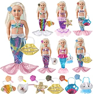Voccim 18 Inch Doll Mermaid Outfit for American Girl Doll Clothes Accessories Include 6 Colorful Rainbow Mermaid Tail Dresses Bikini Top 6 Shiny Hairpins and 6 Marine Animals Handbags