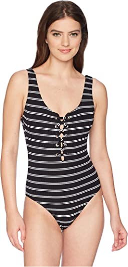 Seafolly Inka Stripe Lace-Up Maillot