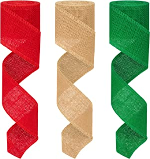 Colovis 3 Rolls Red Green Natural Burlap Ribbon Christmas Burlap Ribbon Rolls,2.4 Inches by 590 Inches Perfect for DIY,Craft,Gift Wrap Decor.