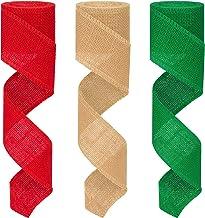 Colovis 3 Rolls Red Green Natural Burlap Ribbon Christmas Burlap Ribbon Rolls,2.4 Inches by 590 Inches Perfect for DIY,Cra...