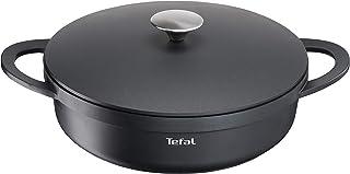 Tefal Trattoria E21872 Sartén con tapa de hierro fundido, fundición de aluminio, Negro