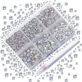 AD Beads 4300 Pieces Flat Back Nail Art Rhinestones Round Beads 6 Sizes (2-6.5mm) with Storage Organizer Box,Rhinestones P...