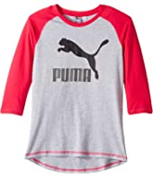 Puma Kids - 3/4 Sleeve Back Scoop Hem Top (Big Kid)