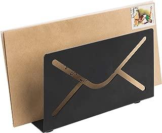 MyGift Matte Black Metal Envelope Cutout Design Desktop Mail Sorter