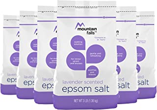 Mountain Falls Calming Lavender Scented Epsom Salt Soaking Aid for Relief of Minor Aches & Sprains, 3 Pound (Pack of 6)