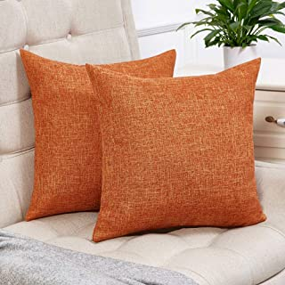 Anickal Set of 2 Fall Orange Pillow Covers Cotton Linen Decorative Square Throw Pillow..