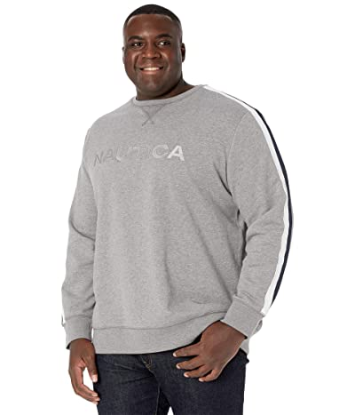 Nautica Big & Tall Big Tall Crew Neck Fleece (Stone Grey Heather) Men