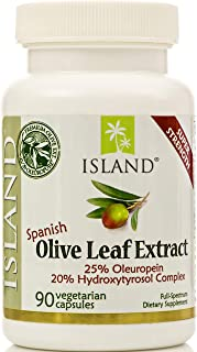 Real European Olive Leaf Extract - 25% Oleuropein, Plus 20% Hydroxytyrosol Complex™ - 100% Grown & Extracted in Spain - Super-Strength Capsules by Island Nutrition®