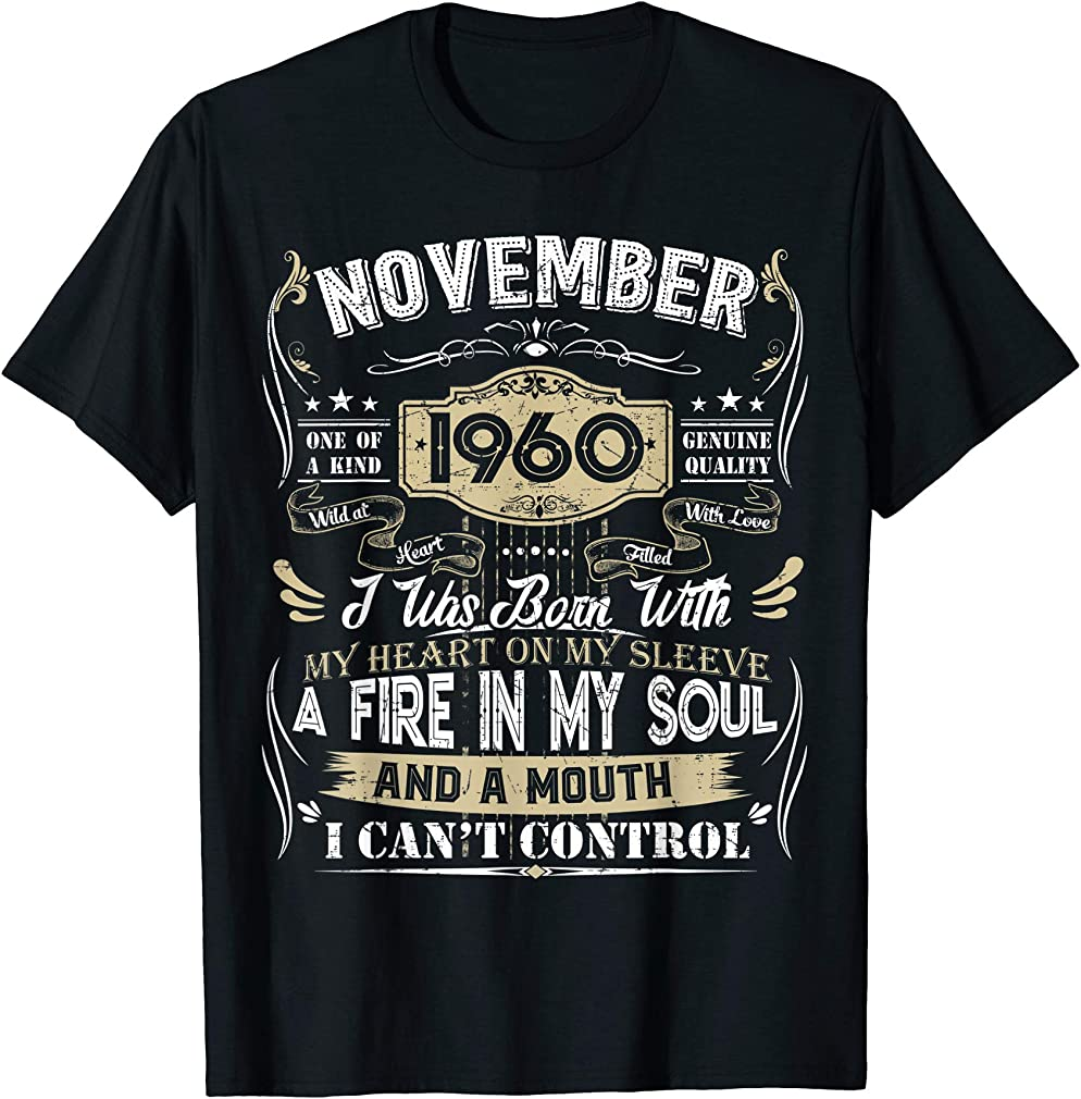 Classic 60th Birthday Gift 60 Year Old Vintage November 1960 T-shirt
