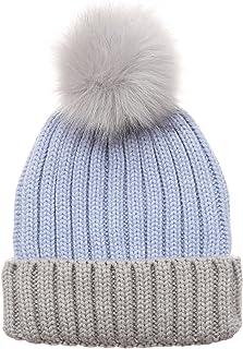 MIRMARU Women's Winter Two-Tone Rib Knitted Ski Cuff Beanie Hat with Pom Pom.