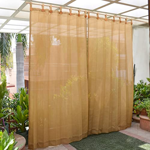 HIPPO - HDPE Fabric - Decorative Outdoor Loop Curtains - 80% to 85% Sun Blockage - Beige Color - 4.5 ft X 7.5 ft - Pa...