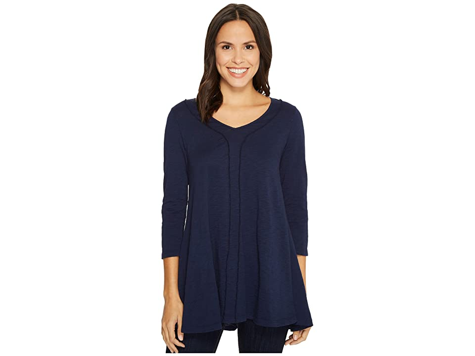 Mod-o-doc Slub Jersey 3/4 Sleeve Swingy Tunic Dress (True Navy) Women
