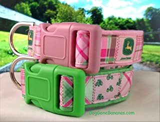 Pink and Green Plaid Tractor Dog Collar with Leash Option