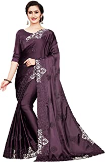Madhunandan Trendz Women's Pure Satin Saree Heavy Embroidery Work With Unstitched Blouse Piece