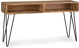 Simpli Home AXCHUN-03 Hunter Solid Mango Wood and Metal 55 inch Wide Mid Century Modern Console Sofa Table in Natural